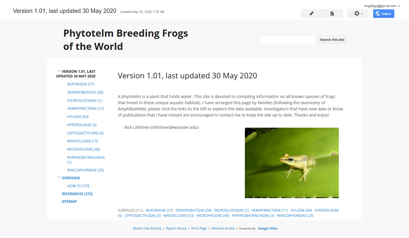 Phytotelm breeding frogs of the world website